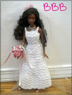 Barbie Clothes Crochet Wedding Gown White with Pink Rose Accents. $30.00, via Etsy.