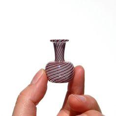 Beautiful dollhouse miniature hand blown glass swirl vase
