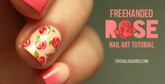 Freehanded Rose Nail Art Tutorial
