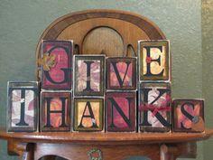 """Give Thanks"" Wood Blocks"