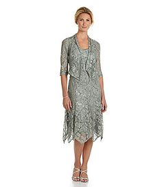 KM Collections Sequined Lace Jacket Dress #Dillards