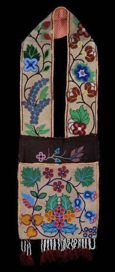 Northern Ojibway Beaded Bandolier Bag with Floral Design ca. 1900 43  H. 14  W.  Good Condition with