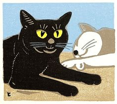 Two Cats - Black and White   by Tomoo Inagaki