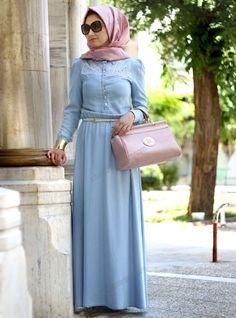 Dantel Detaylı Kot Elbise 30 - Mavi - Minel Aşk