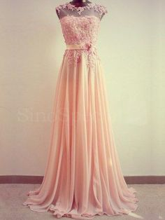 Amazing Light Coral Lace Aline Round Neckline by SpcialDresses, $209.99