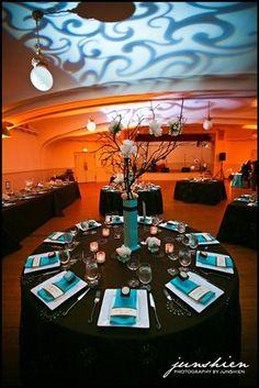 summer blue brown centerpiece centerpieces indoor reception place settings wedding reception photos & pictures - weddingwire.com