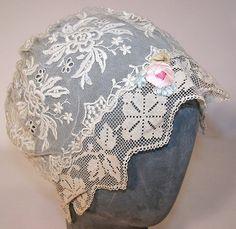 1920s Antique Ecru Embroidered Net Lace Silk Rosette Flapper Bed Cap/Hat