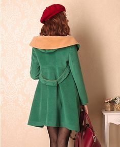 Cashmere Green Wool Hooded Cloak. $69.39, via Etsy.