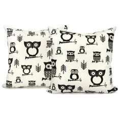owls + geometric pillow covers
