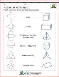Nets Worksheets - Match the Nets Sheet 1. Match nets to correct 3d shape