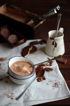 Chocolate and mascarpone ice cream with chocolate covered cookies.
