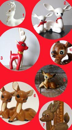 vintage deer figurines - my mom has a scary looking vintage deer - cute but scary looking