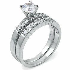 ... Cubic Zirconia CZ Wedding Engagement Ring Set Titanium Kay. 29.95