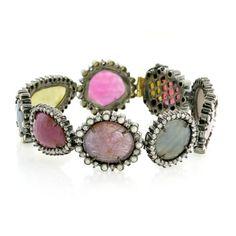Geode Pearl Gemstone Diamond Bracelet