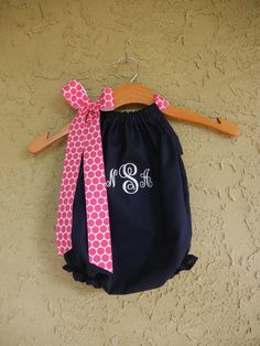 Monogrammed Navy Pillowcase Bubble Romper - sizes 3m - 24m....PERFECT for SUMMER and the BEACH. $32.00, via Etsy.