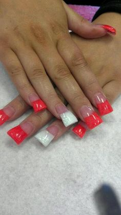 The Flare Look nail - Red with a traditional french ring accent finger.  I've never tried that shape before....