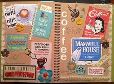 boutiqu, art journal, books, smashbook, smash book, coffe smash, paper crafting, book pages, coffee cups