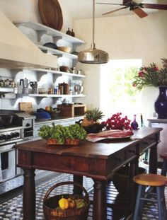 open shelves, floor, rustic table, kitchen tables, cozy kitchen, french country, kitchen islands, open shelving, farm houses