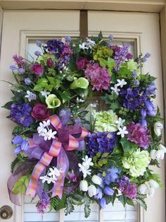Spring,  Summer,  April,  Easter,  Cottage,  Purple, Plum Petals, Door Wreath.