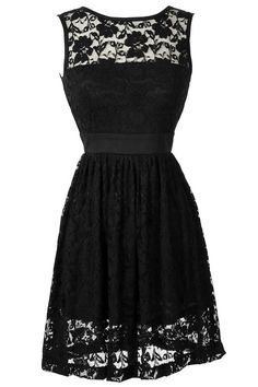 Sleeveless A-Line Lace Overlay Dress in Black... IN LOVE