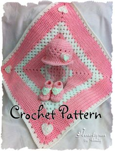 Thursday's handmade love week 62 Theme: baby girl blankets Includes links to free crochet patterns  Sweet Hearts Baby Hat, Booties and Blanket Set CROCHET PATTERN in 3 sizes, PDF Format.  Shape brim to wear different ways via Etsy