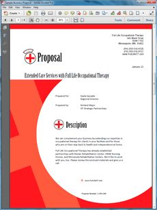 Occupational Therapy Services Sample Proposal - Create your own custom proposal using the full version of this completed sample as a guide with any Proposal Pack. Hundreds of visual designs to pick from or brand with your own logo and colors. Available only from ProposalKit.com (come over, see this sample and Like our Facebook page to get a 20% discount)
