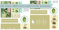 Free Printables for a Gratitude Journal. Read the book 1000 gifts! by Ann Voskamp
