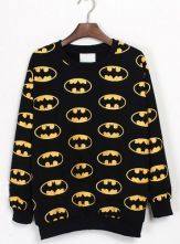 #SheInside  Black Long Sleeve Batman Print Sweatshirt