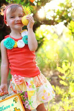 Buy 2 skirts get 1 FREE.. Orange Crush Twirl Skirt...eco-friendly...sustainable fashion..handmade childrens clothing by laken and lila