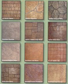 stamped concrete ideas - great for sprucing up a concrete driveway or patio rather than replacing it with some more decorative material