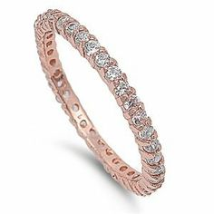 Silver Ring Rose Gold Plated Slim Eternity w/ Clear CZ - 2mm (Jewelry)  http://www.amazon.com/dp/B007QWNO1W/?tag=iphonreplacem-20  B007QWNO1W