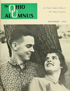 "The Ohio Alumnus, December 1959. ""Are Today's Students Different? The College Community."" Joyce Ferguson and Marshall Miller posed for the cover. :: Ohio University Archives"