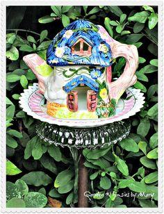 Fairy Cottage Garden Totem Stake  As by GardenWhimsiesByMary, $35.00