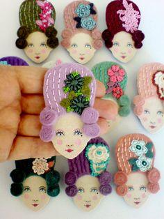 Marie Antoinette felt brooches