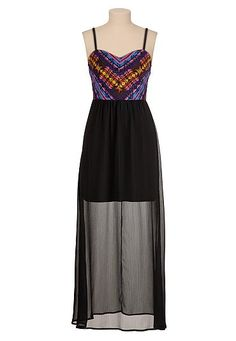 Embroidered smocked top illusion maxi dress (original price, $44) available at #Maurices