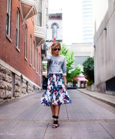 floral skirt + sweatshirt