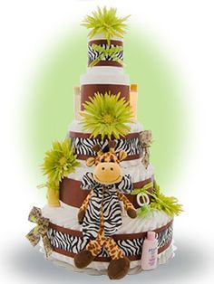"The 5 tiered ""Safari Giraffe"" diaper cake is made from scratch after you place your order. Only $142.00"