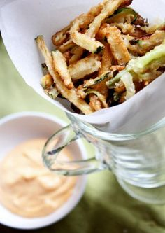 shoestring zucchini fries with sriracha mayo. sub almond flour for the regular flour to make paleo