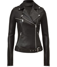 JITROIS  Black Leather Biker Jacket