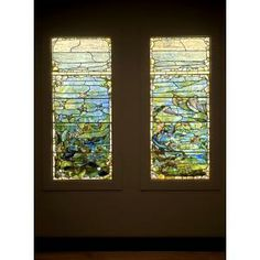 """Louis Comfort Tiffany, Tiffany Glass and Decorating Company, Window with Starfish (""""Spring"""") and Window with Sea Anemone (""""Summer""""), c. 1885-1895, glass, lead, iron, and wooden frame (original), Dallas Museum of Art, The Eugene and Margaret McDermott Art Fund, Inc."""