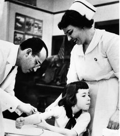 February 24, 1954: The first mass vaccination of children began in Pittsburgh. [WQED]   Photo: Jonas Salk and a nurse administer vaccine, c. 1955.  So we would not get polio!