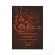 Elegant invitation with pumpkin and bat detailing