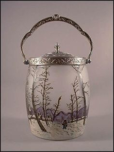 Legras French Cameo Enamel Winter Scene Biscuit/Cracker Jar ~ from greencountry on RubyLane.com