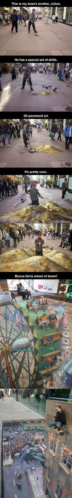 He Takes 'Gold Digger' To a Whole Different Dimension // funny pictures - funny photos - funny images - funny pics - funny quotes - #lol #humor #funnypictures Artists, Random Pics, 3D Street Art, Sidewalk Art, Gold Digger Quotes, Amaz, Awesom, Ferris Wheels, Chalk Art