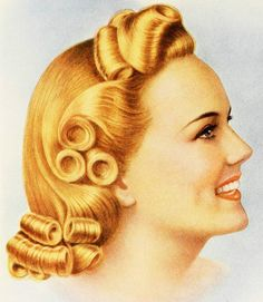 Fabulous style from a Lady Carole Hair Curlers ad, 1940. #vintage #1940s #hair #ads