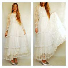 Gunnesax Gunne Sax Jessica McClintock Maxi Dress Vintage 1970s 70s White Polka Dot Dots Lace Ruffled Layers Layered Tiered Fancy Antique S