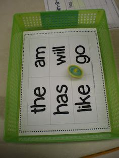 Love the top reading game for stations! Spin the top & record on a graph which sight word it lands on.