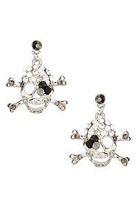 Silver Rhinestone Skull Earrings #iamtorrid