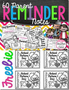 Freebie! Parent Reminder Notes