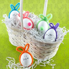 Chenille-Stem Egg Bunnies  #pipecleaner